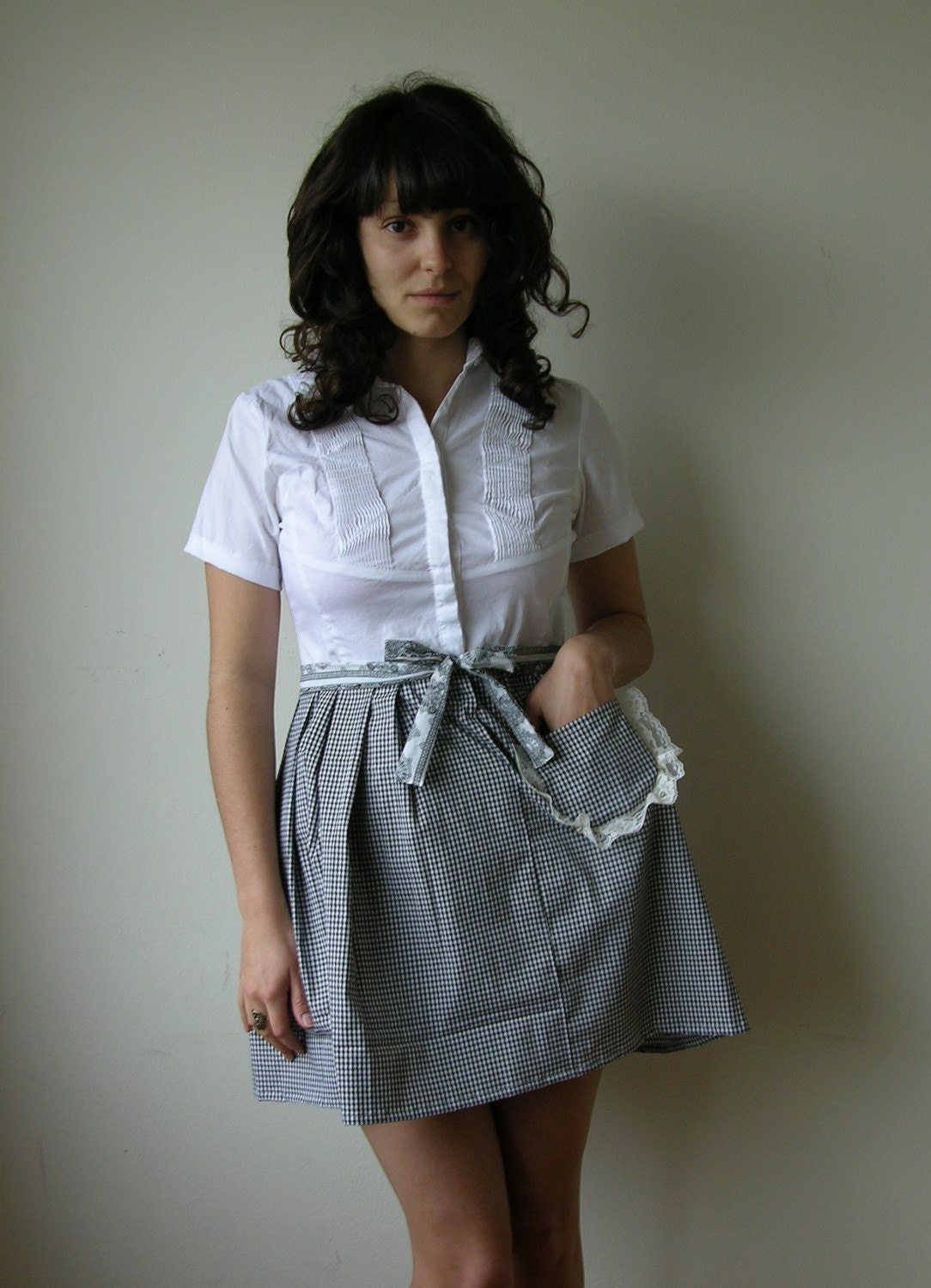 Rusty Cuts Gingham Housewife Dress with Lace Cutout Sz M