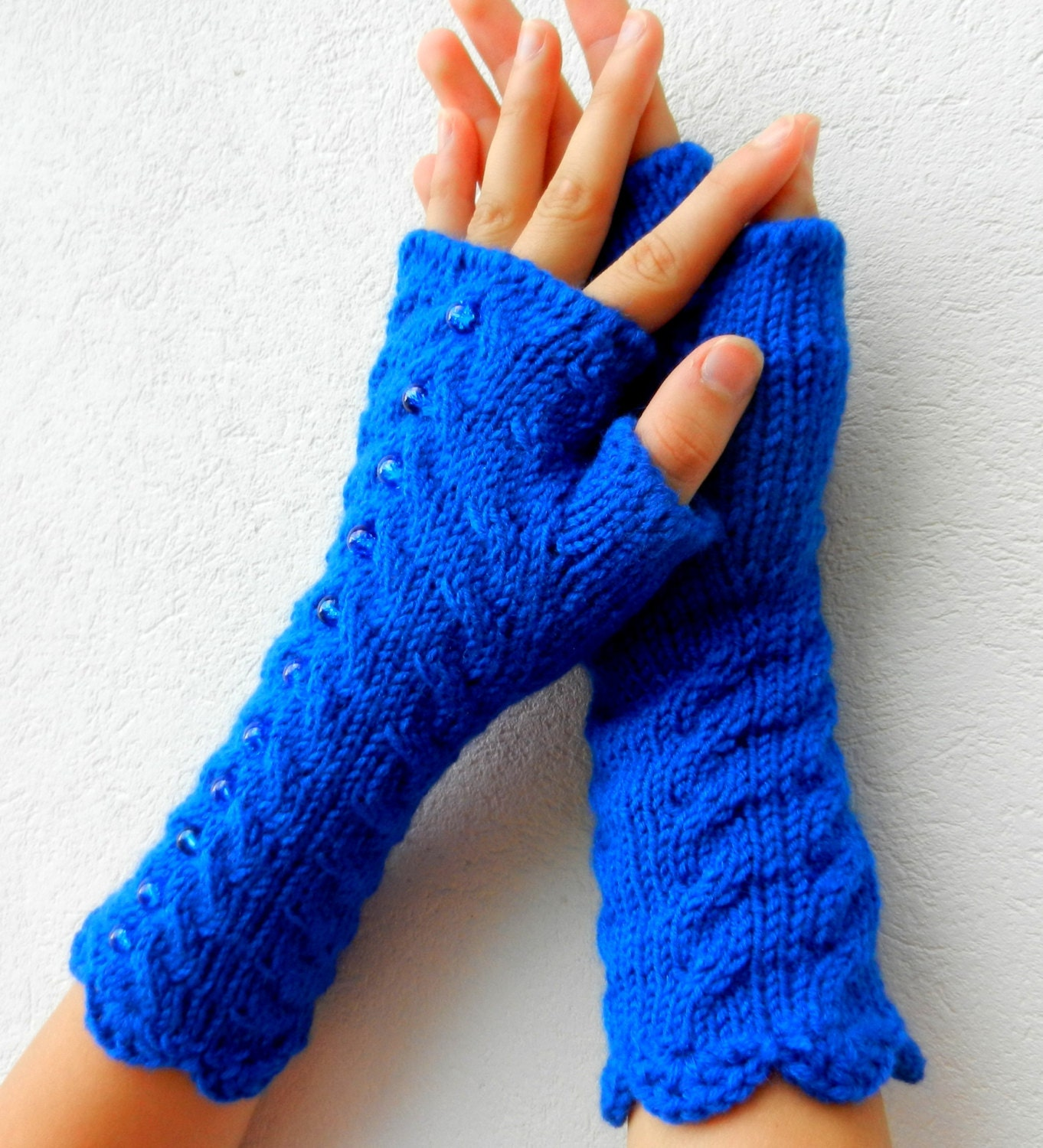 Cobalt blue Fingerless, dazzling blue fingerless, bright blue fingerless, Long Cabled Fingerless / Wrist Warmers / Electric Blue - MioLauma