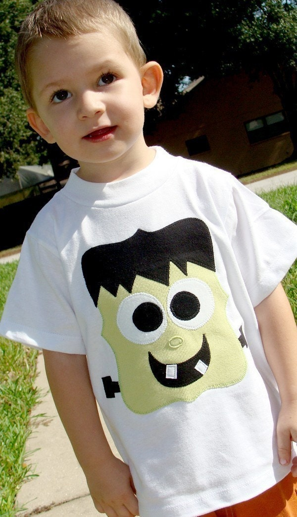 Halloween Frankenstein Custom Applique Tshirt