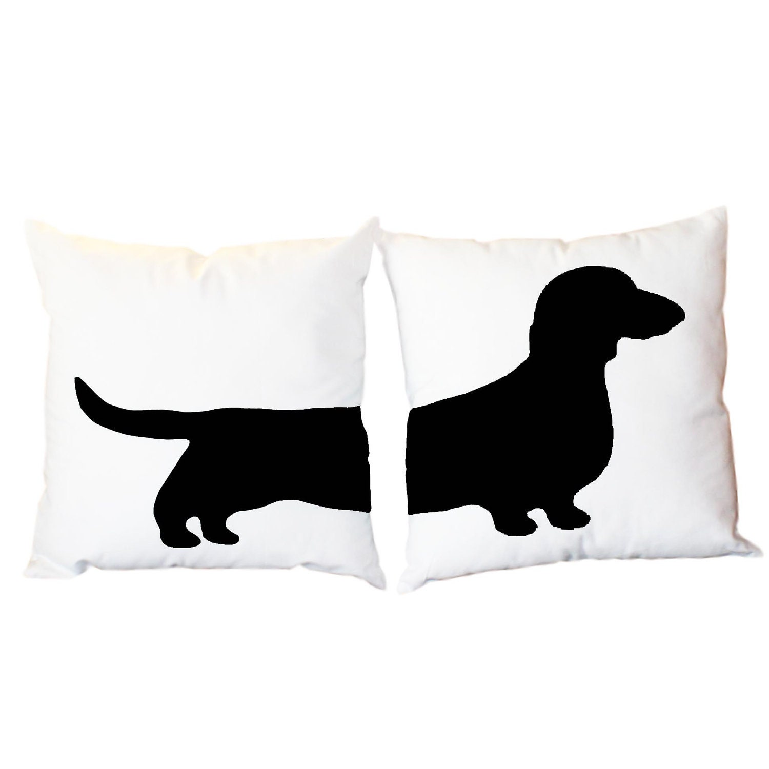 2 Modern Dachshund Pillows - Wiener Dog Home Decor