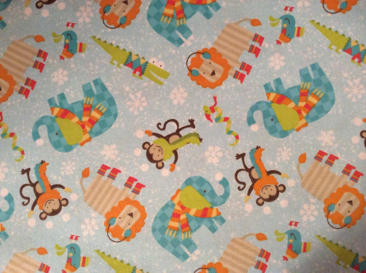 Elephant lion monkey flannel fabric by the by for Baby monkey fabric prints