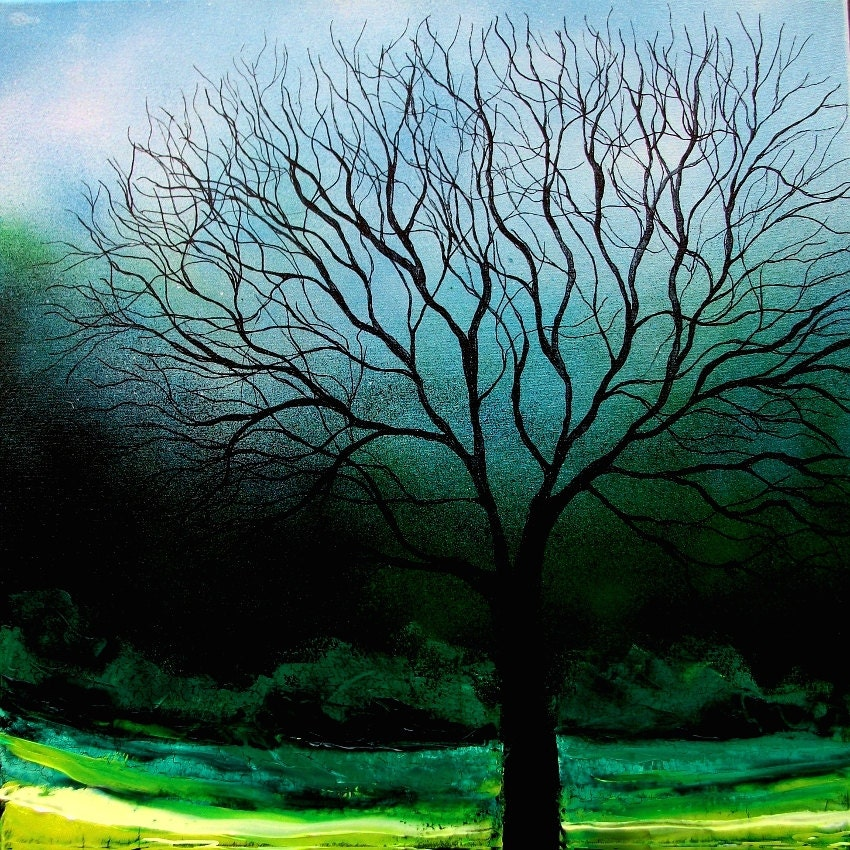 Story of the Tree 61 - 20x20 signed tree landscape print reproduction by Aja ebsq