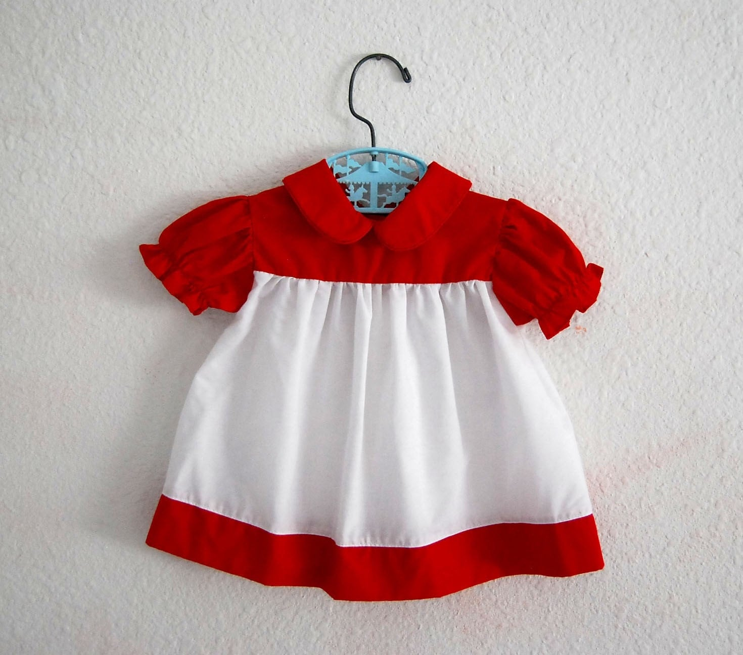 BABY n RED...vintage red and white ruffled dress
