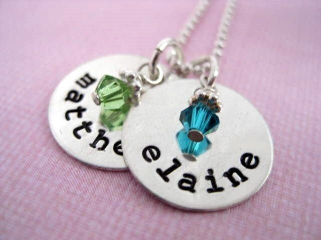 TWO TINY Brags with Birth Stones -  Hand Stamped Sterling Silver Personalized Name Necklace