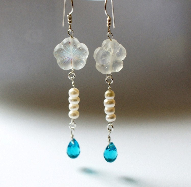 25 percent discounted price for Weekend Deals...JOYFUL SPRING BLOSSOMS EARRINGS for weddings with pearls and turquoise crystal drops in sterling silver by ayawedding on Etsy from etsy.com