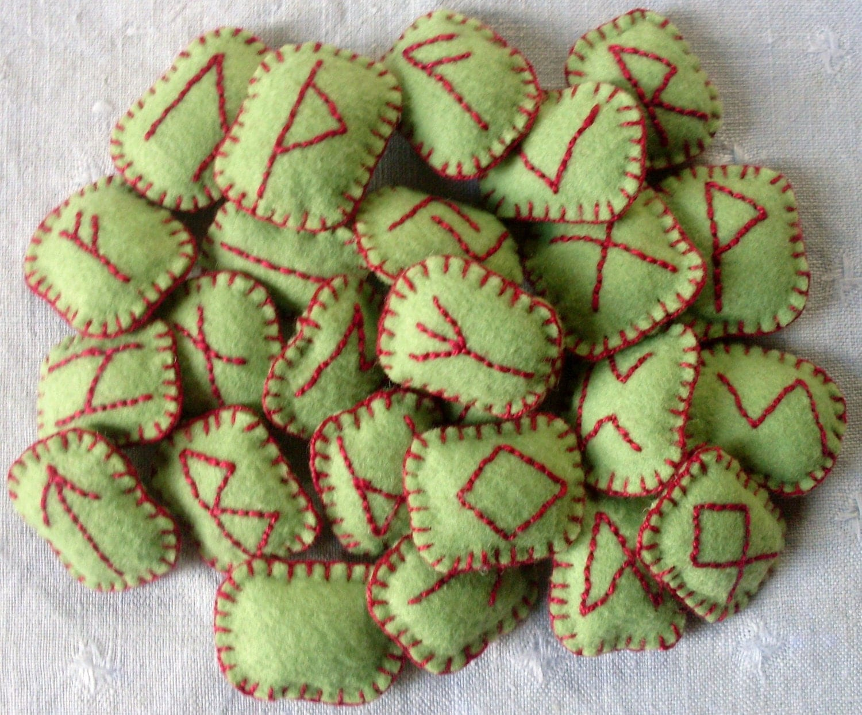 Green Felt Rune set filled with rosemary