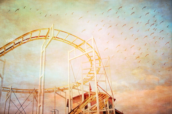 Whimsy Ride II. Carnival Photography. fine art photograph photo print, home decor nursery art. whimsical surreal photo fair 6x9 - violetdart