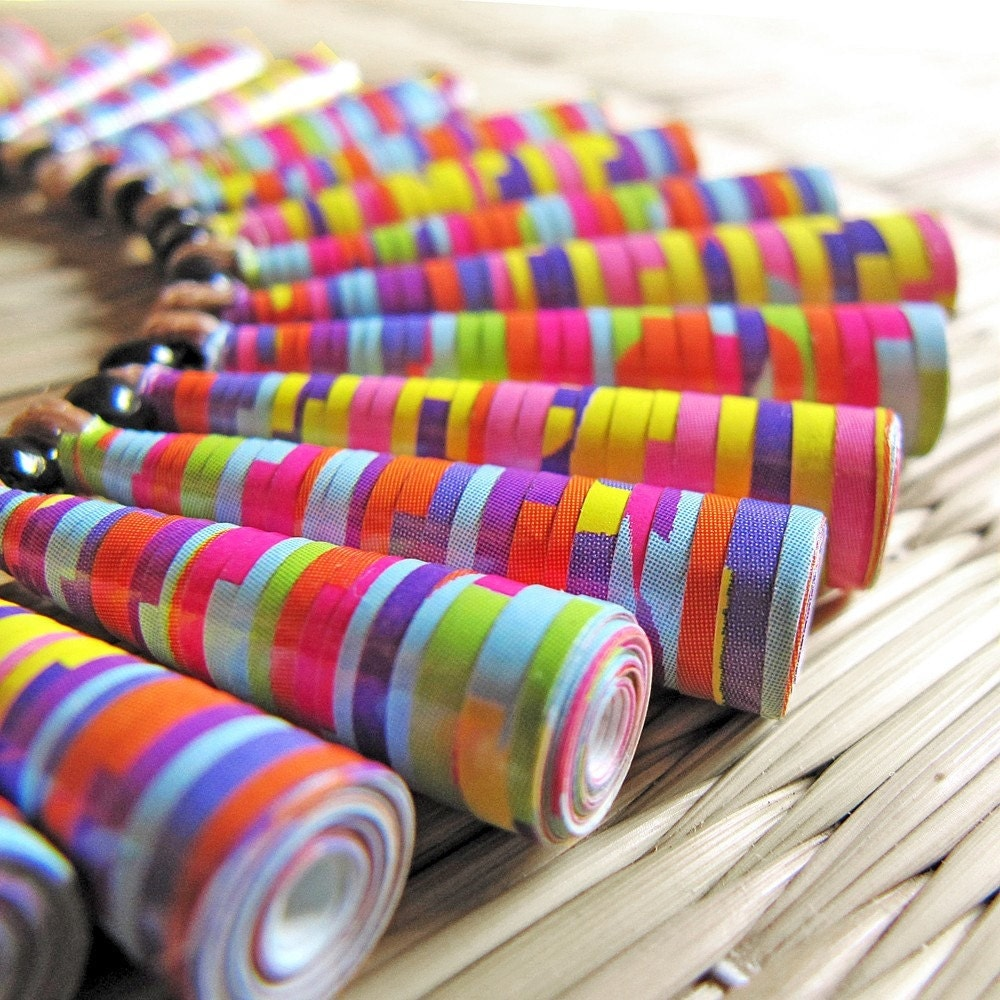 Colorful jewelry - Unique jewelry - Paper Bead Necklace - Colorful, Unique, Candy Stripes, Coral pink, Orange, Yellow, Aqua blue, Purple