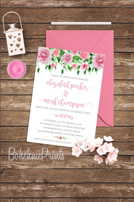 Pink Wedding Invitations Simple Wedding Invitation Suite Printable Garden Wedding Invitation Kit Peony Rose Wedding Invitation Digital File