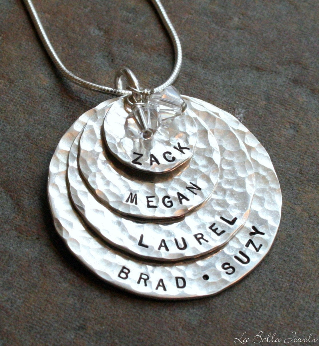 Four Layers of Love Sterling Hand Stamped Necklace - Thicker Charms