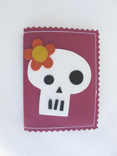 Plum Girly Skull Mini Composition Vinyl Notebook