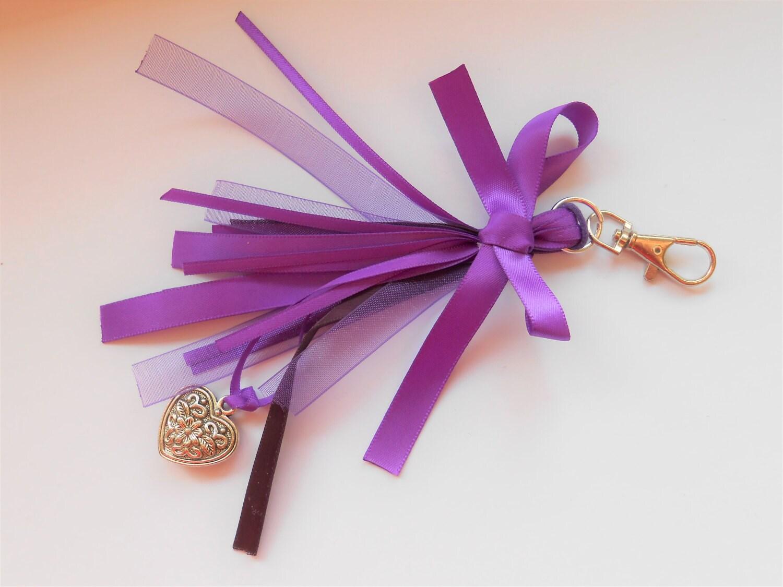 Purple Ribbon Tassel Keyring Tassel Keyring Ribbon Keyring Planner Tassel Purple Keyring Shabby Chic