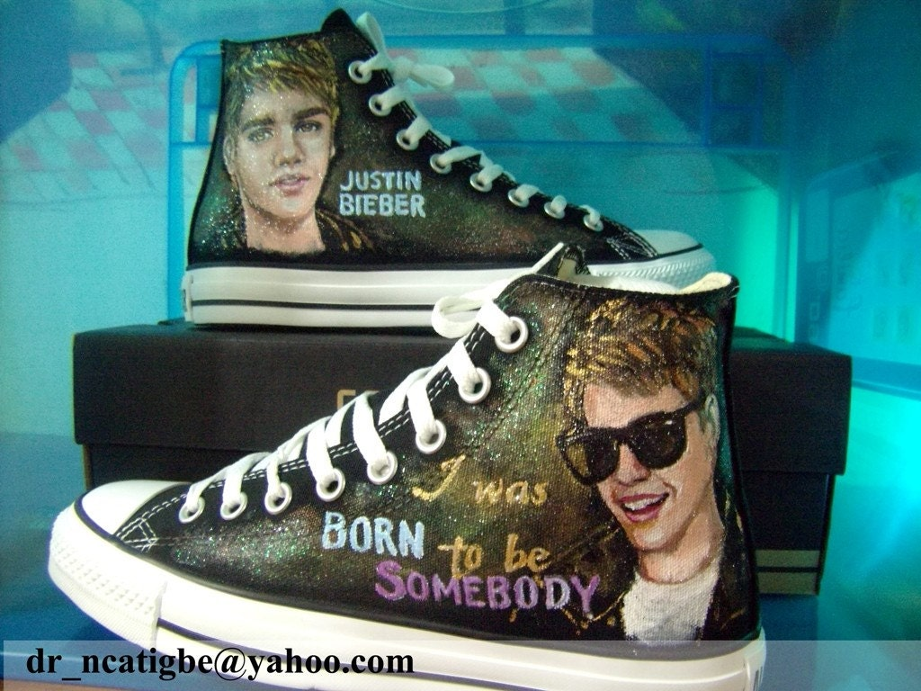 Justin Bieber Personalized Converse (hand painted)