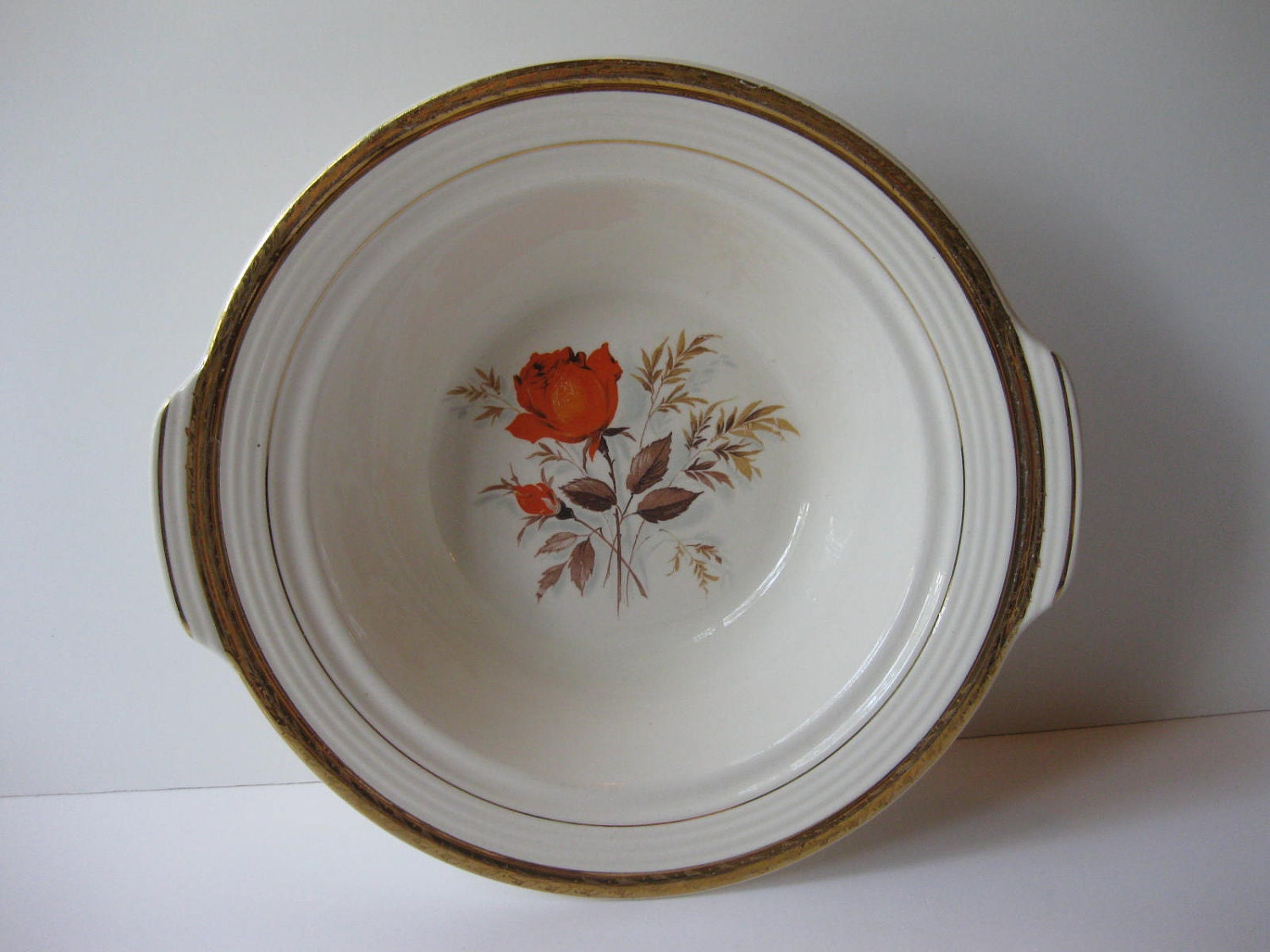 Vintage American Limoges Vermillion Rose 22 K Gold Trimmed Round Vegetable Bowl - thechinagirl