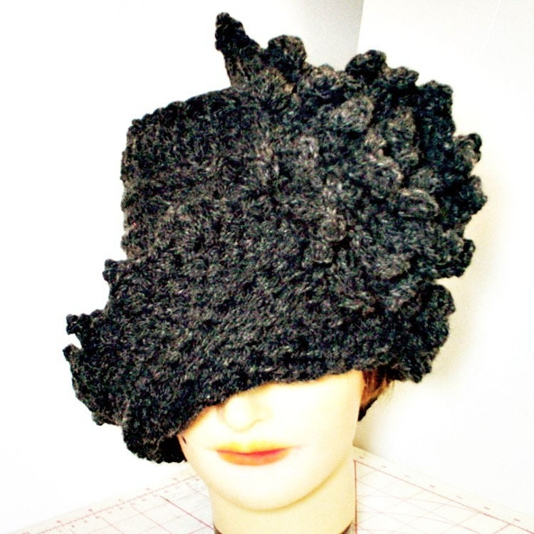 Twisted Gray Wool Cloche Hat  Twisted Cloche by strawberrycouture
