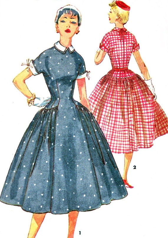 1950s Dress Pattern Simplicity 1042 Full Skirt Drop Waist Day or Evening Dress Detachable Collar and Cuffs Vintage Sewing Pattern Bust 30