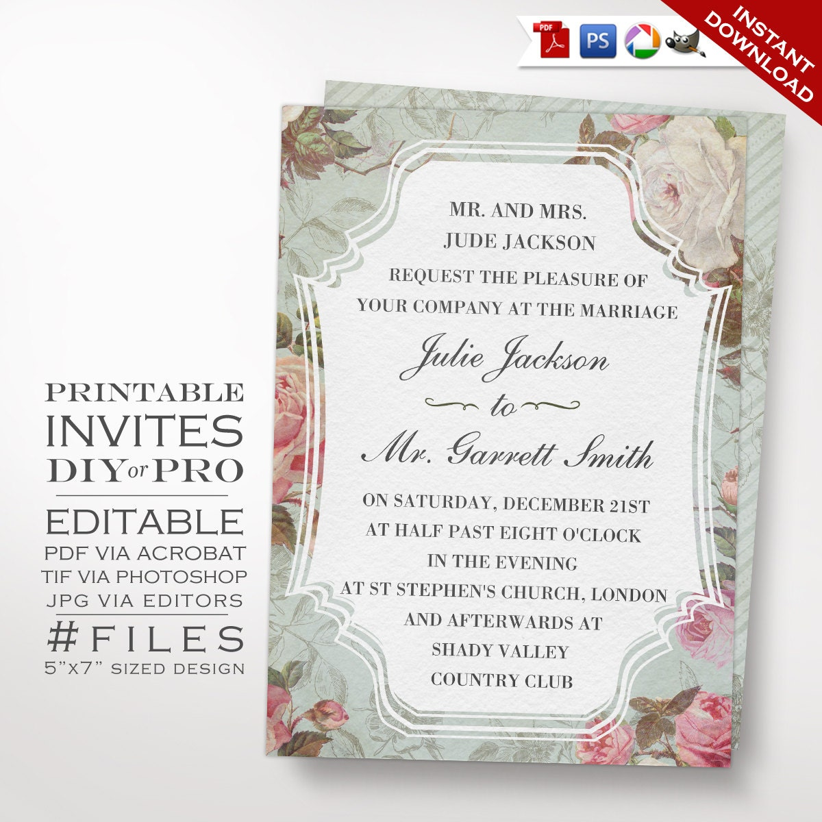 Wedding Invitation Template  Vintage Rose Wedding Invitation  Printable DIY French Country Wedding Invitation Editable Wedding Invite