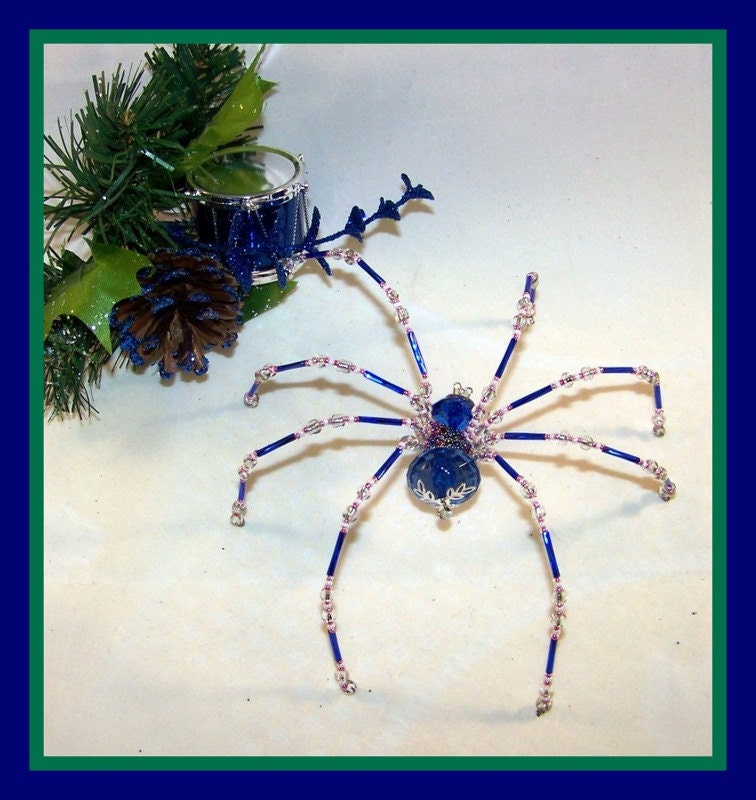 christmas spider blue crystalline beaded german by pkjcreations. Black Bedroom Furniture Sets. Home Design Ideas
