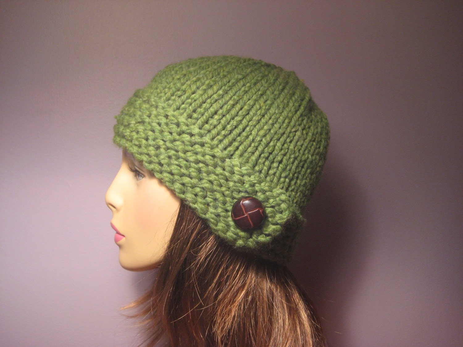 PATTERN Button Brim Knit Hat PDF by UpNorthKnits on Etsy