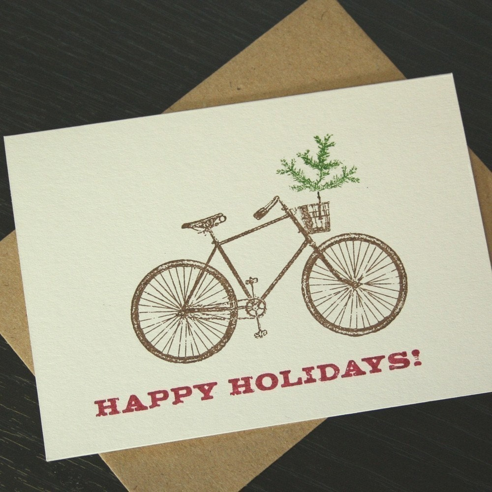 Happy Holidays gocco printed bike card from TwoGuitars.Etsy.com