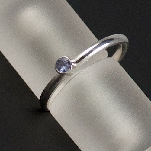 Silver Stacking Ring with 3mm Faceted Tanzanite - FREE SHIPPING