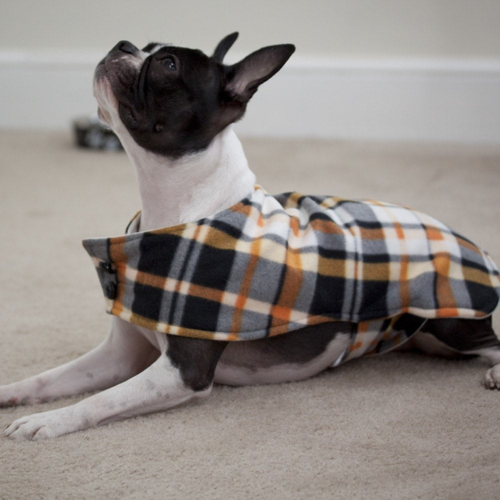 Orange Black and White Plaid Dog Coat (Medium) - Free Shipping Worldwide
