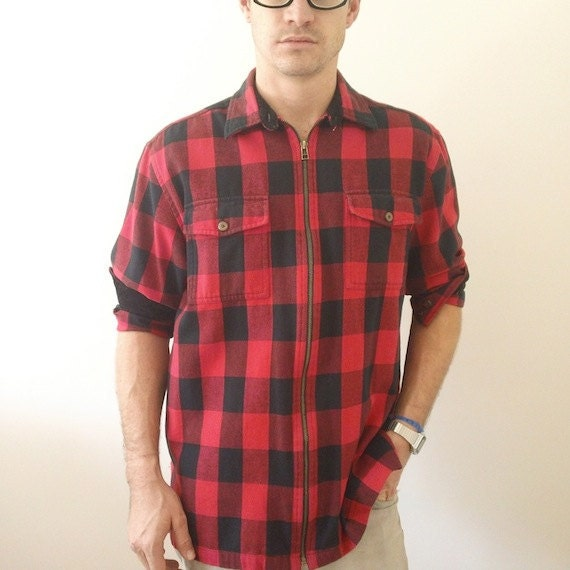 Buffalo plaid flannel shirt jacket zip up front by for Zip front flannel shirt