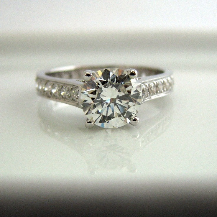 Diamond Engagement Ring  1 Carat Diamond Center by 360Diamonds