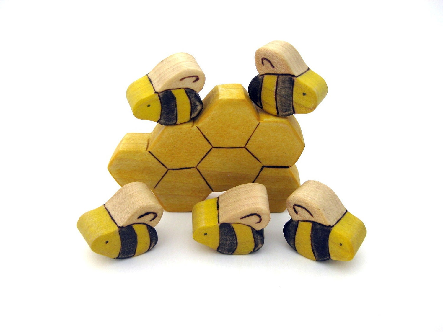 Honey Bees & Honeycomb Toy - Handmade Wooden Toy - ArmadilloDreams