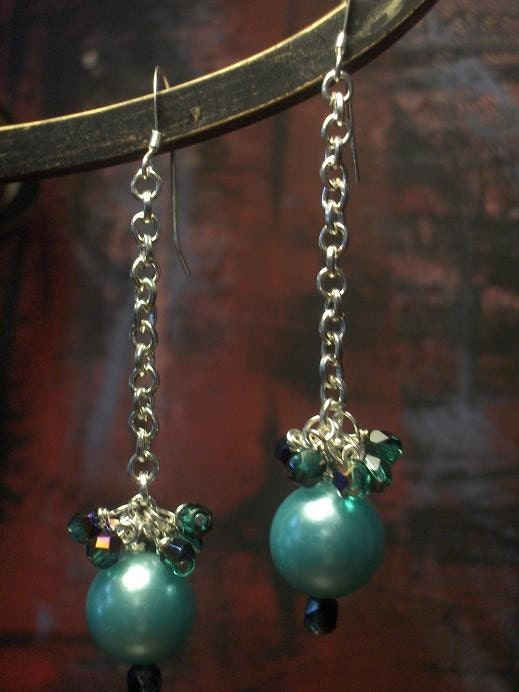 Twinkled Teal Pearl and Sparkle Earrings