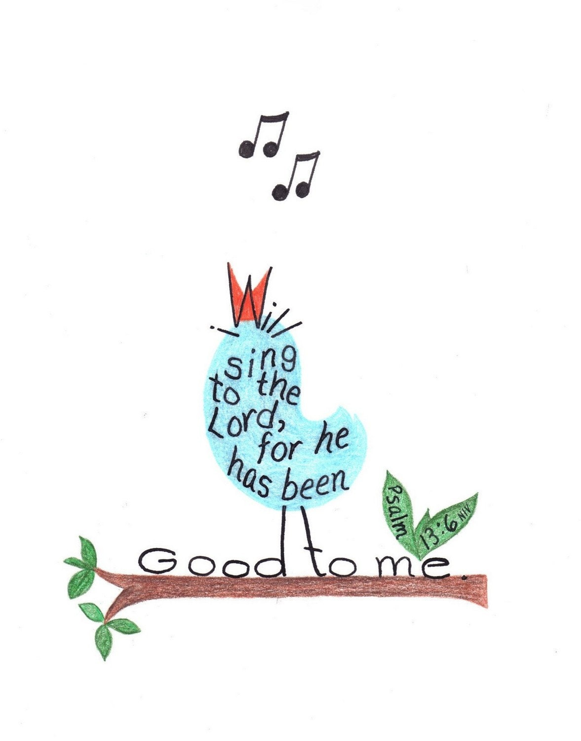 Singing bird drawing. inspirational bible verse print. - LindaRobbsArt