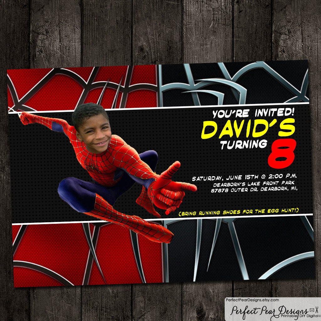 Birthday Party Kids Invitation Super Hero by PerfectPearDesigns