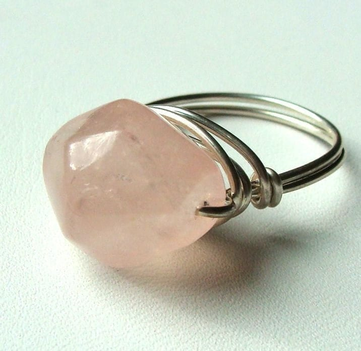 Rose Quartz Chunky Nugget Sterling Silver Ring