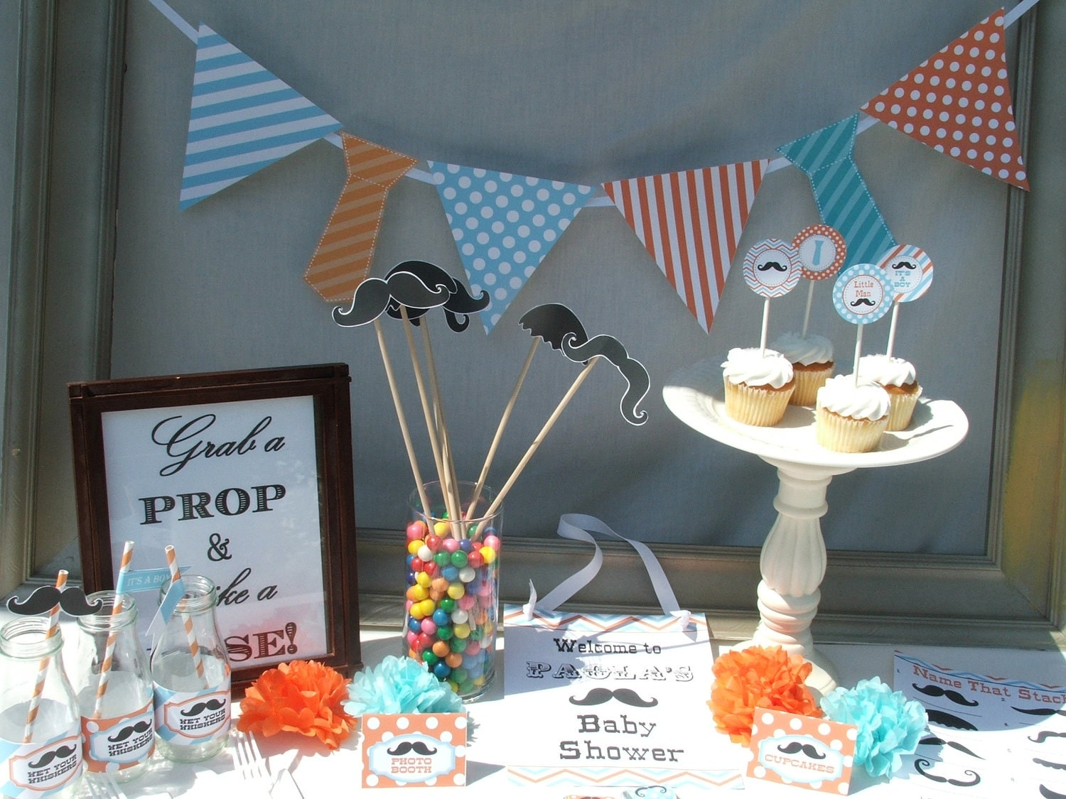 little man baby shower decorations for boy by busychickadees