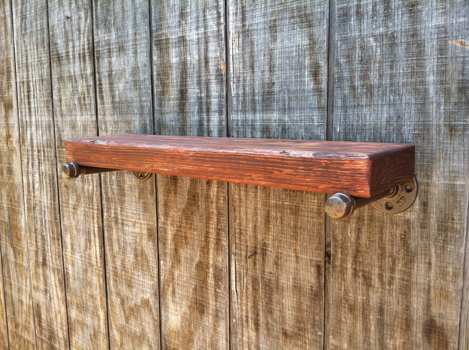 industrial salvage wood wall shelf with by rayscustomwoodwork. Black Bedroom Furniture Sets. Home Design Ideas