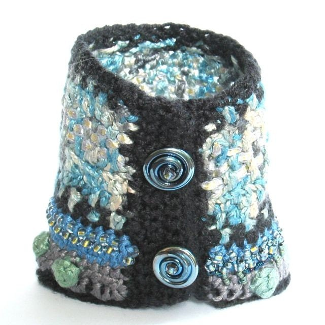 Crochet Textile Cuff Bracelet III -- Blue Warm Fuzzies
