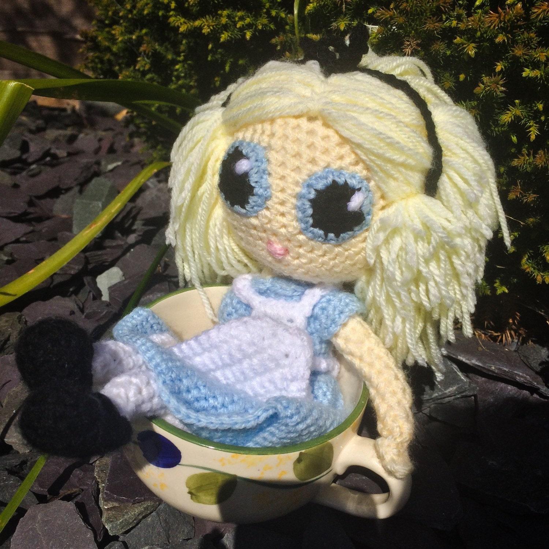 Alice Crochet Doll  Alice in Wonderland Knitted Figure  Disney Stuffed Toy  Cute Fabrications