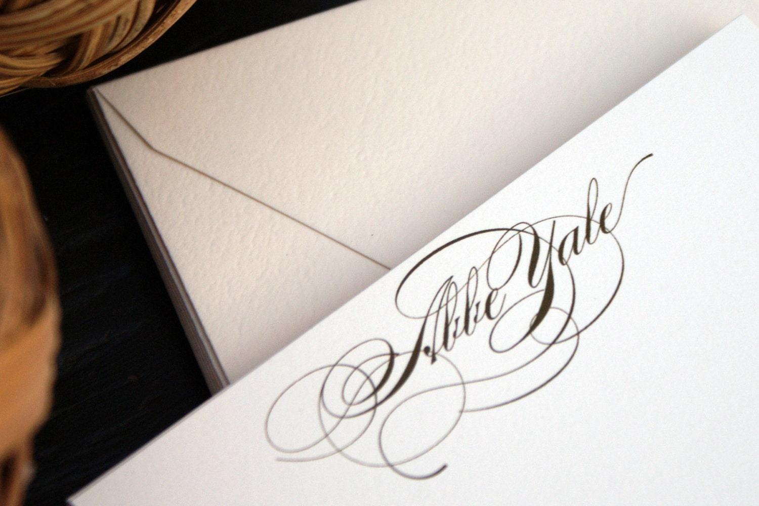 Abbe Personalized Script Flats - Elegant Custom Note Cards  - Set of 8