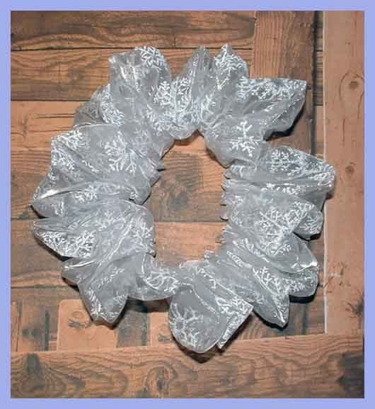 Glitter Accented Organza Hair Scrunchie, Snowflake Ponytail Holder, Adult Large Winter Glamor Hair Tie