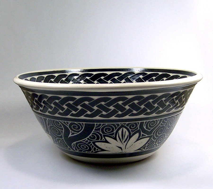 Handmade Stoneware Serving Bowl with Hand-Carved Patterns