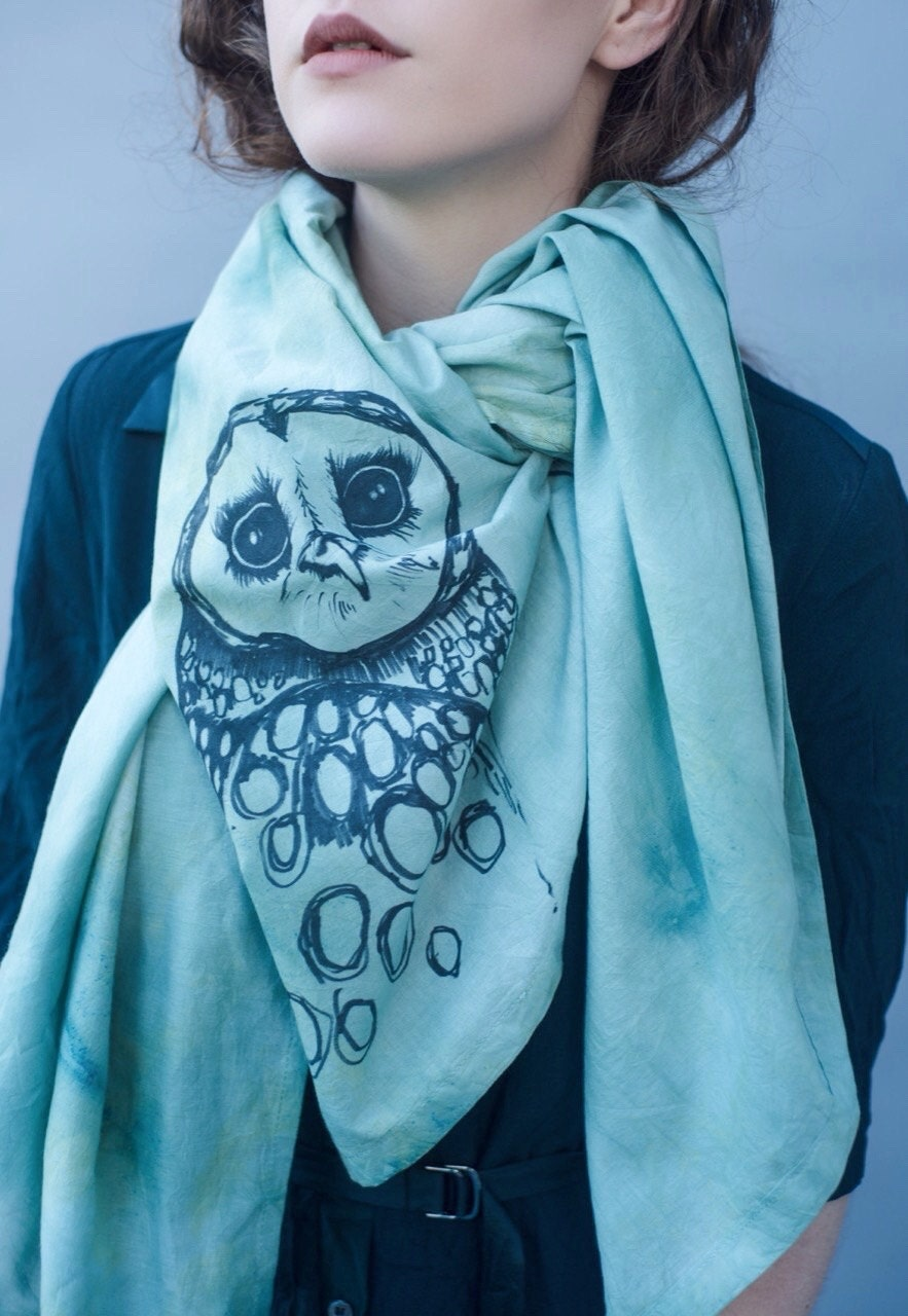 HAND DYED COTTON Scarf  Hand Illustrated Owl Hand Written Text  Sea Foam Green