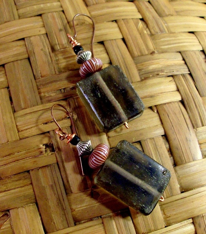 Autumn Black Glass, Silver & Copper Earrings - Bohemian - Rustic - Vintage - stoneandbone
