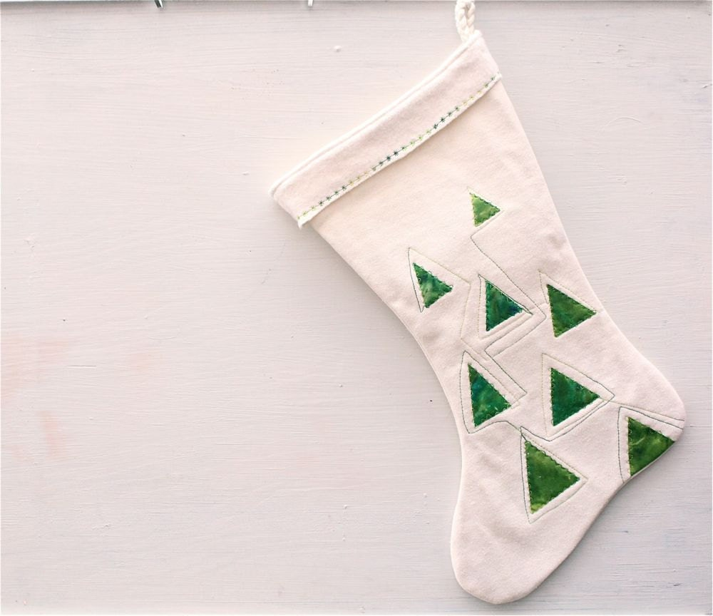 Holiday stocking christmas trees modern triangles geometric design