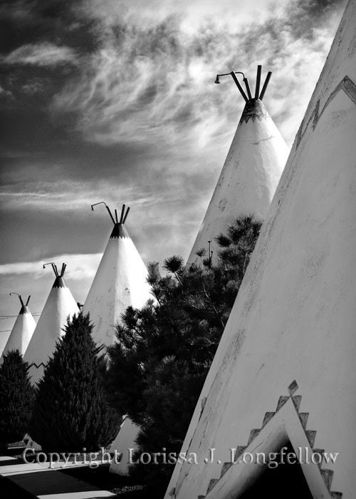 Wigwams in a Row - 8x10 Route 66 Limited Edition Photograph - Southwestern Travel photography For the home vintage hotel  Black and White