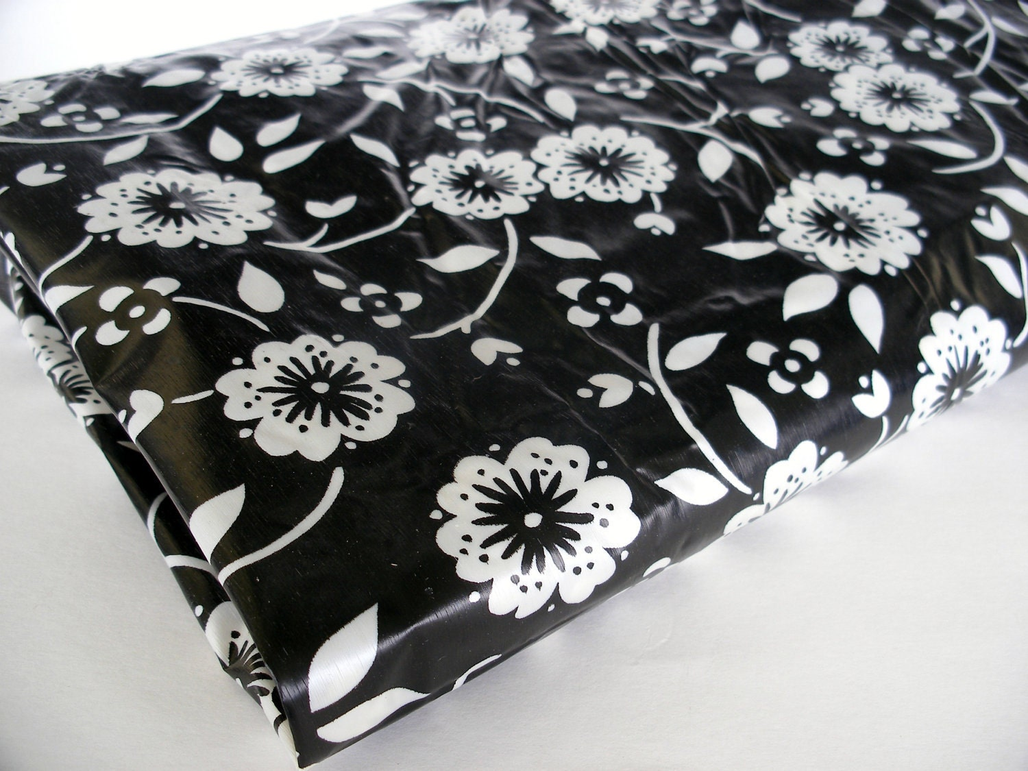 Retro Black And White Floral Print Shower By BornAtTheWrongTime