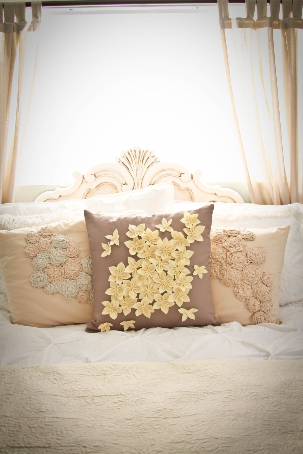 20x20 inch decorative pillow with handmade applique flowers
