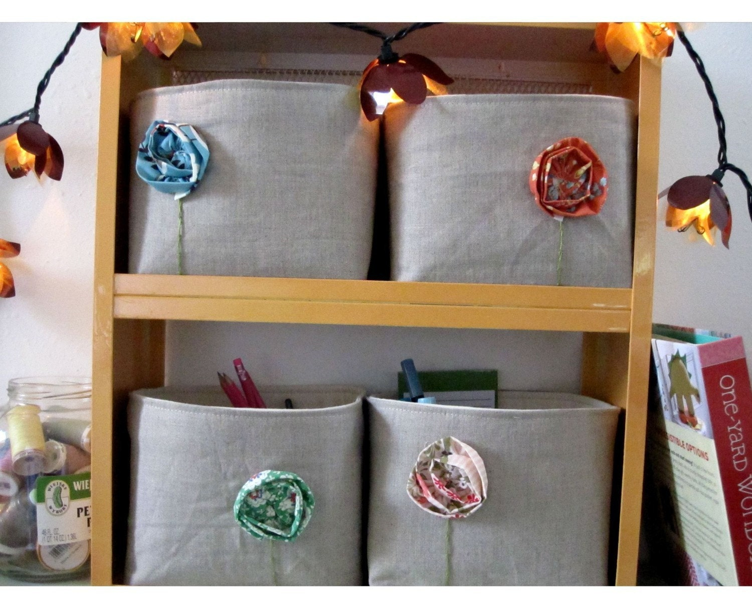 Bohemian Poppies Fabric Bins in Linen Choose Two
