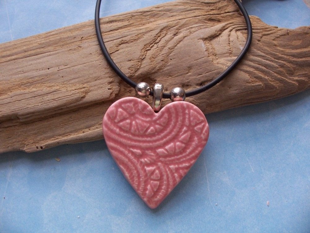 Pink Heart Necklace Ceramic Easter