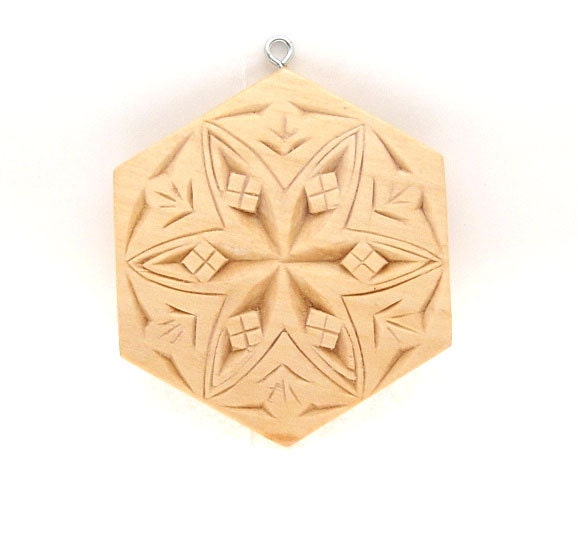 Handmade wood christmas ornament chip carved by
