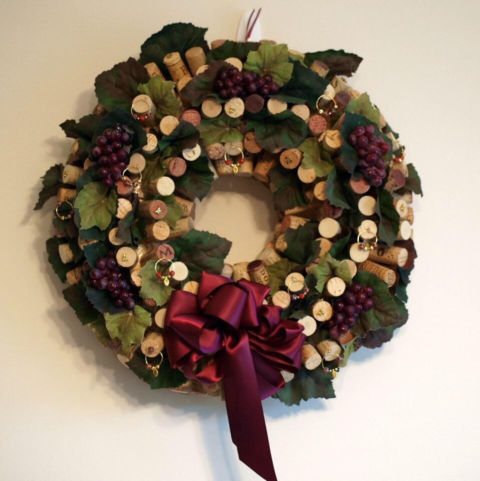 Wine cork wreath with handmade wine glass charms by nancysworkshop